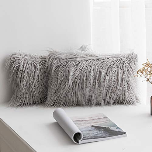 MIULEE Pack of 2 Decorative New Luxury Series Style Light Grey Faux Fur Throw Pillow Case Cushion Cover for Sofa Bedroom Car 12 x 20 Inch 30 x 50 ()