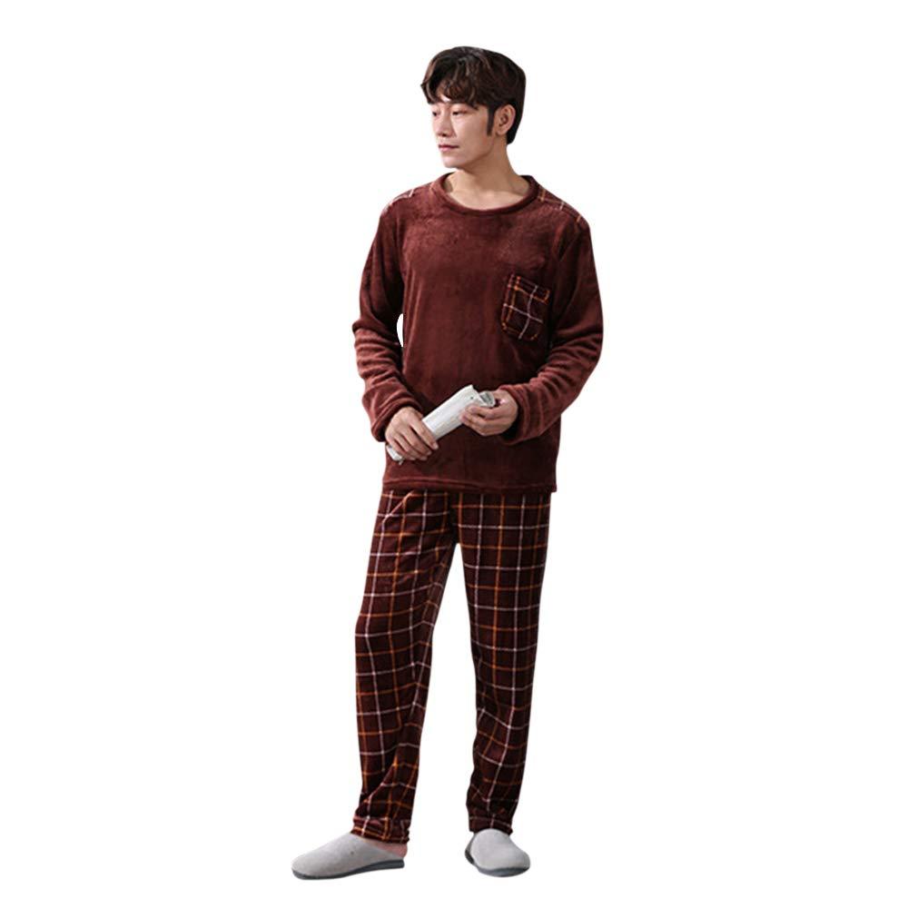 Loozykit Invierno oto/ño Conjunto de Pijamas para Hombre de Franela con dise/ño de Animal Forro Polar Lindo Ropa de Noche