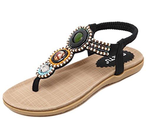 Sandal Black Flat Thong Chickle 8 US Women's Pearls aPwqZp1