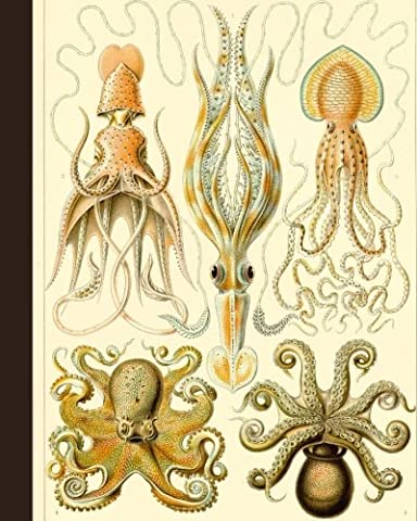 "Vintage Octopus Nature Illustration Journal: 8"" x 10"" Bullet Journal - Blank Notebook, 1/4 inch Dot Grid with 160 Pages, Sturdy Matte Softcover Dotted Paper, Perfect Bound, Travel Size Diary Book"