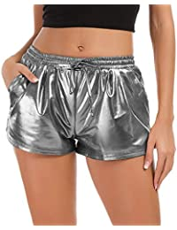 Women's Yoga Hot Shorts Shiny Metallic Pants with Elastic...