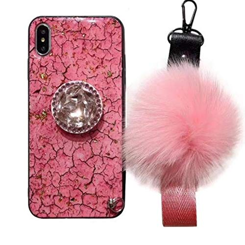 Price comparison product image iPhone Xs Max Glitter Glass Case with Fur Ball, Aulzaju iPhone Xs Max Beauty Bling Soft Slim Shockproof Marble Stone Case with Ring Stand for iPhone Xs Max (iphone xs max 6.5 inch,  Pink)
