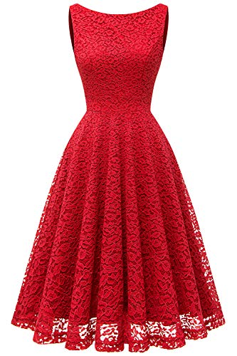 Bbonlinedress Women's Short Floral Lace Bridesmaid Dress V-Back Sleeveless Formal Cocktail Party Dress Red L by Bbonlinedress