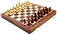 "Wooden Magnetic Travel Chess Set with Staunton Pieces and Folding Game Board 12"" Inch - Handmade By Artisans in India"