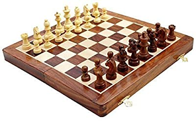"kimaro Chess Set - Wooden MAGNETIC Travel Chess Set with Staunton Pieces and Folding Game Board 10"" Inch - Handmade By Artisans in India"