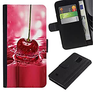 Billetera de Cuero Caso Titular de la tarjeta Carcasa Funda para Samsung Galaxy Note 4 SM-N910 / Cherry Water Nature Berries Red Fresh / STRONG