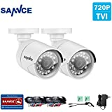 SANNCE 2PCS HD TVI1500TVL White CCTV Bullet Security Surveillance Camera with Day/Night Vision, Wide Angle, IP66 Weatherproof, IR Cut Filter