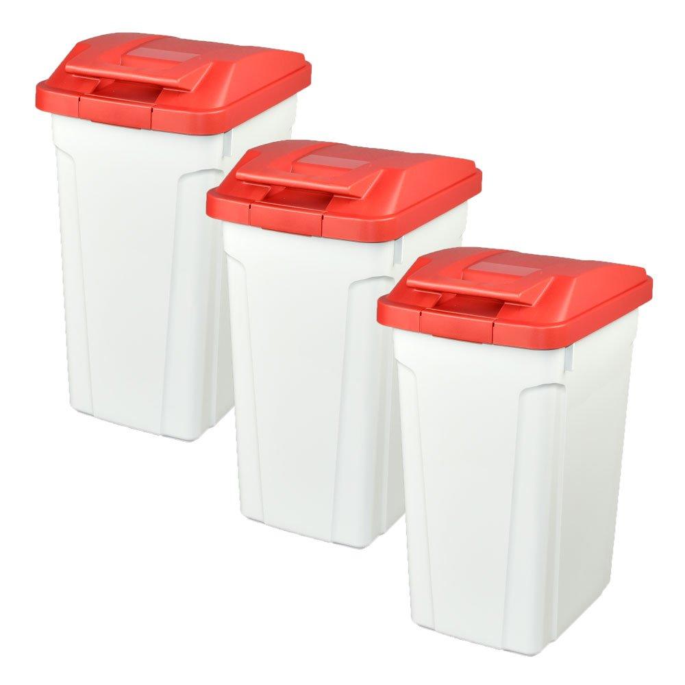 ASVEL ハンドルペール 35L 3個セット ゴミ箱 ごみ箱 ダストボックス おしゃれ ふた付き アスベル (レッド×レッド×レッド) B074743WC7 レッド×レッド×レッド レッド×レッド×レッド