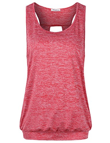 Dye Burnout Tee (Faddare Sleeveless Shirts For Women, Classic Space Dye Training Clothes For Teens,RedL)