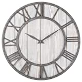 Oldtown Clocks OLDTOWN Farmhouse Metal & Solid Wood Noiseless Wall Clock (WhiteWash, 24-inch) Review