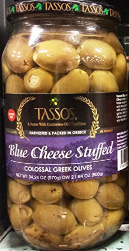 Tassos Blue Cheese Stuffed Colossal Greek Olives, 34.24 Oz