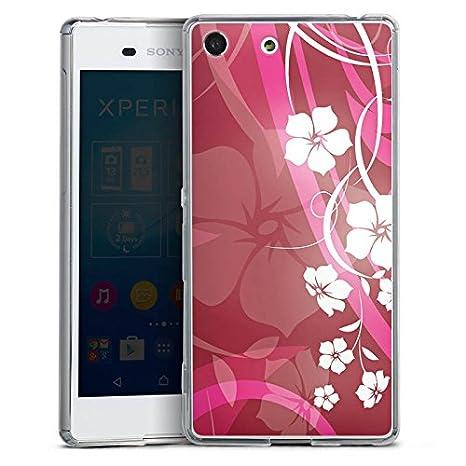 Sony Xperia M5 Slim Case Carcasa de silicona Flores Rosa ...