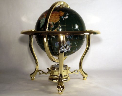 14'' Malachite GEMSTONE GLOBE with 3-Leg Gold Stand by Unique Art Since 1996