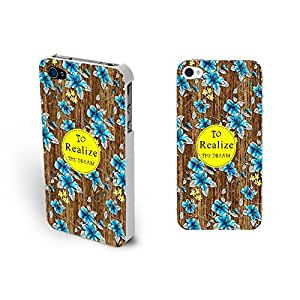 Monogram Blue Flowers Print Hard Wood Print Iphone 4 4s Case Cover for Women (white)