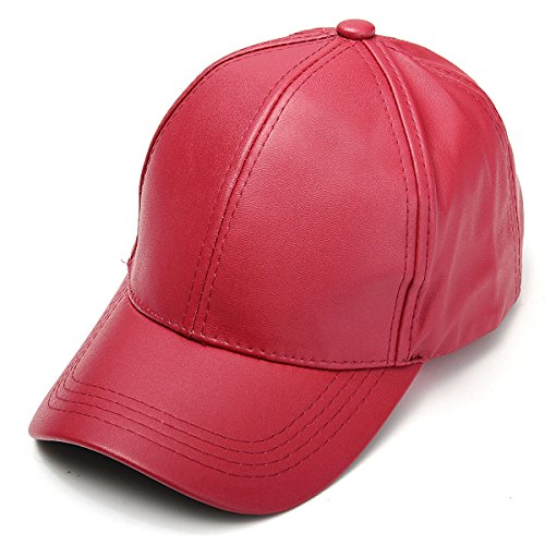 Price comparison product image K&A company Unisex Men Women PU Leather Pure Color Baseball Cap Adjustable Snapback Hip-hop Hat,  Red