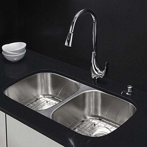 Level Double Bowl Kitchen Sink - Kraus KBU22-KPF1621-KSD30CH 32 inch Undermount Double Bowl Stainless Steel Kitchen Sink with Chrome Kitchen Faucet and Soap Dispenser
