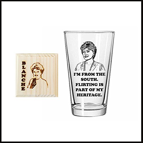 Golden Girls silhouettes inspired Etched Pint Drinking Glass Set of FOUR plus 4 laser engraved coasters. Sophia, Dorothy, Blanche and Rose.