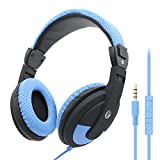 VCOM Over Ear Headphones with Microphone and Volume Control, Stereo Wired PC Headset 3.5mm Jack for PS4 Xbox one Smartphones iPhone Laptop Computer PC Tablet - Blue