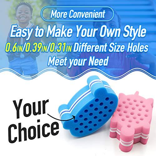RioRand Hair Sponge for Kids Curl Twist Coil Magic Barber Comb Animal-Shape for Boys Girls Blue Bear-Shape, Pink Tortoise-Shape