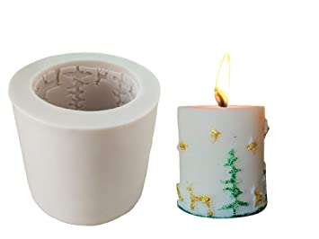 Homankit Cilindro vela de Navidad molde de silicona/moldes de jabón Moldes/,, ideal molde para DIY para hacer velas, jabón hacer y hornear: Amazon.es: Hogar