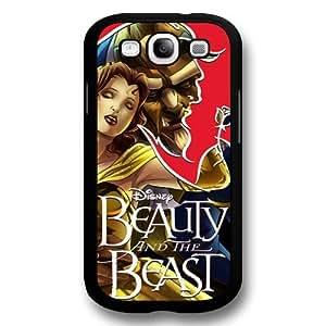 Disney Cartoon Beauty and The Beast, Hard Plastic Case for Samsung Galaxy S3 - Disney Princess Samsung S3 Case Cover - Black