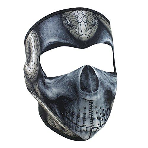 Evil Black White Snake Serpent Skull Reversible to Black Neoprene Full Face Mask