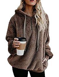 Womens Long Sleeve Half Zip Fuzzy Fleece Pullover Jacket...
