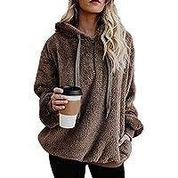 Angashion Womens Sweatshirt - Long Sleeve 1/4 Zip Up Faux Fleece Pullover Hoodies Coat Tops Outwear with Pocket