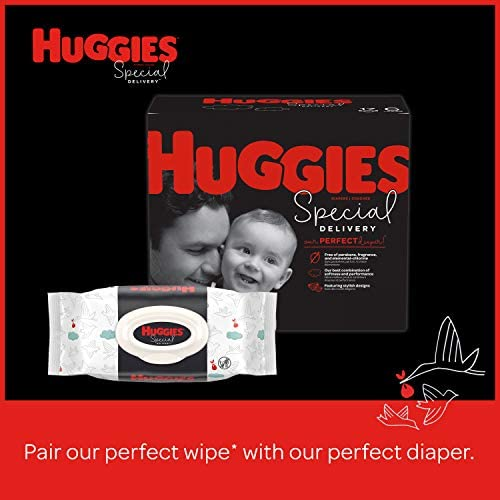 51HcpIWntoL. AC - Huggies Special Delivery Hypoallergenic Baby Wipes, Unscented, 3 Flip-Top Packs (168 Wipes Total)