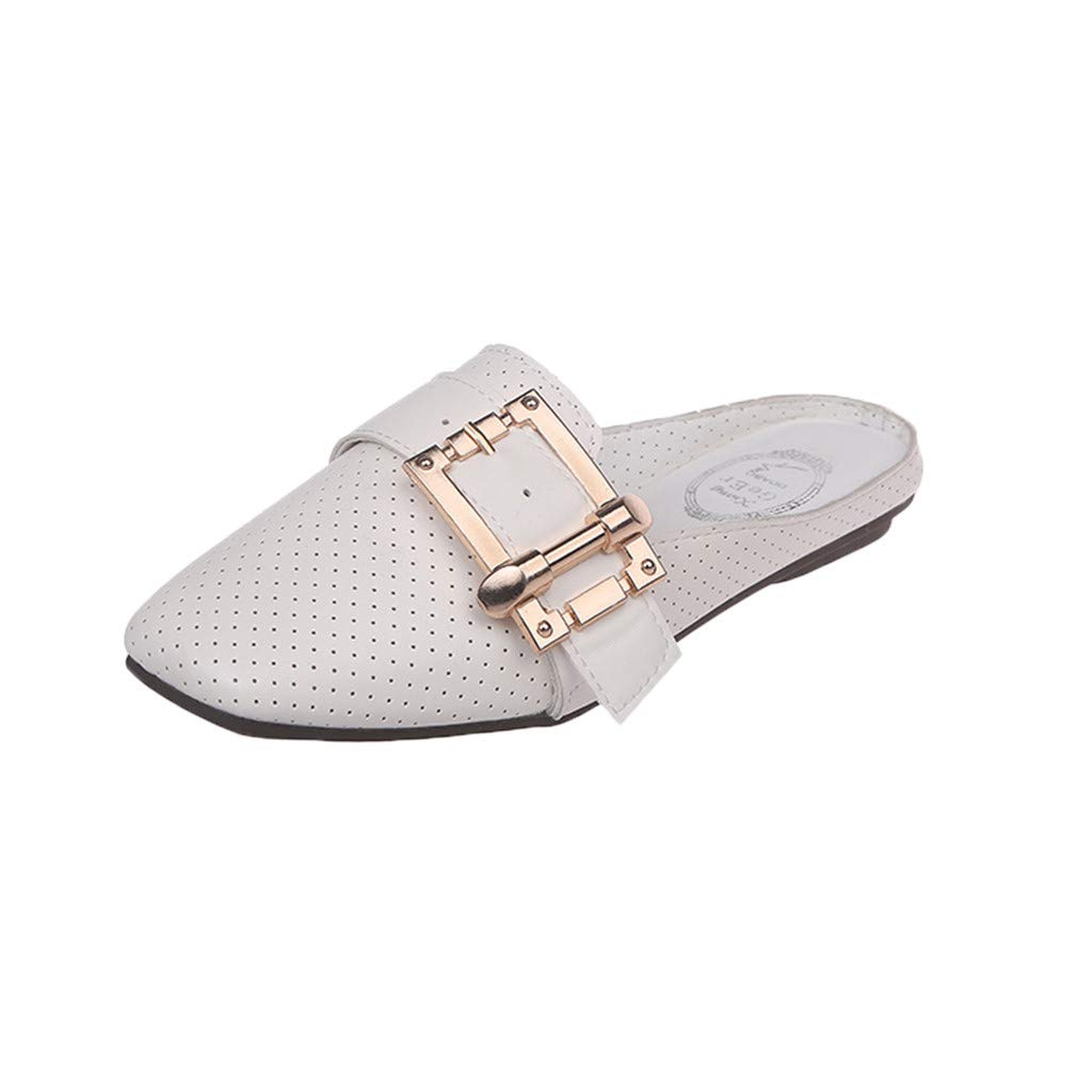 AHAYAKU Woman's Fashion Casual Breathable Slip On Shoes Flat with Shoes Outdoor Slippers White by AHAYAKU