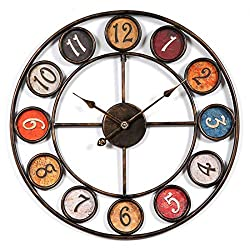 24 Round Oversized Wall Clock, Multi-Coloured Vintage American Rustic Décor, Perfect Wall Decor Analog Metal Quiet Desk Clock for Home Bedroom Office