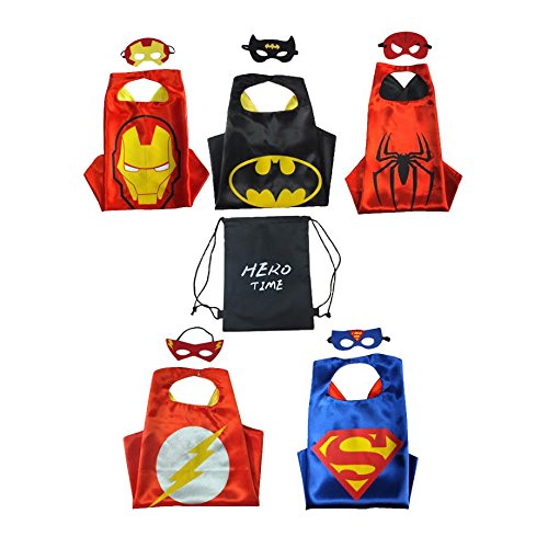 Merchant Medley Hero Time Comic Superhero Capes and Masks Bundle For Children - Set of 5 - Includes Drawstring Bag For Easy Storage - 100%