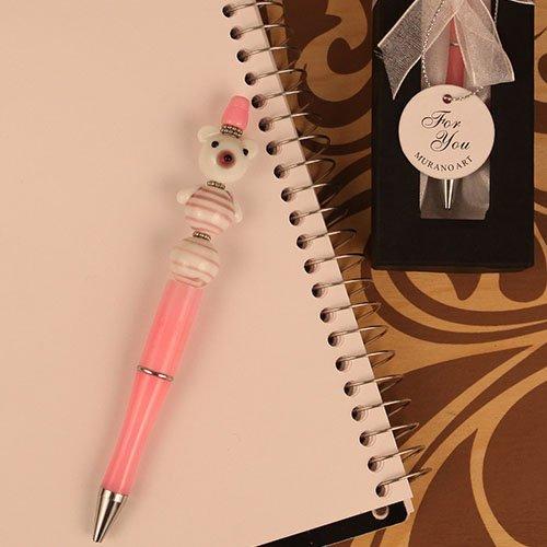 Scribble Bears Pink Arte Murano Bear Shaped Glass Topped Pen - 24 count