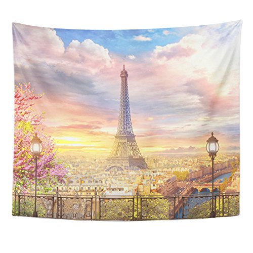 TOMPOP Tapestry Pink Eiffel Beautiful View From the Balcony on Paris Tower Fresco Home Decor Wall Hanging for Living Room Bedroom Dorm 50x60 Inches