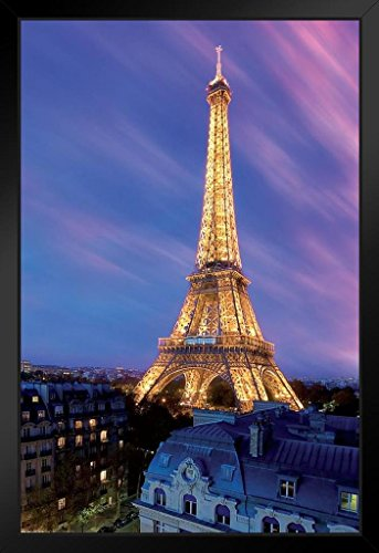 Pyramid America Eiffel Tower at Dusk Paris France Framed Poster 14x20 inch