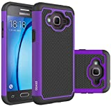 Galaxy J3 Case, Galaxy Amp Prime Case, Galaxy Express Prime Case - OEAGO Shock-Absorption Dual Layer Defender Protective Case Cover For Samsung Galaxy J3 (2016) / Amp Prime / Express Prime - Purple