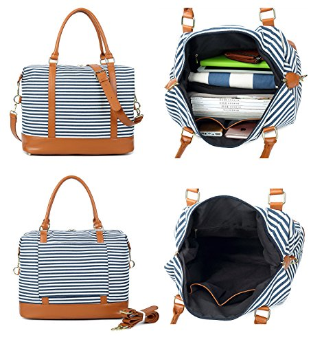 Carry-on away. Women Ladies Canvas Weekender Bag Overnight Carry-on Tote Duffel in Trolley Handle (Blue Stripe)
