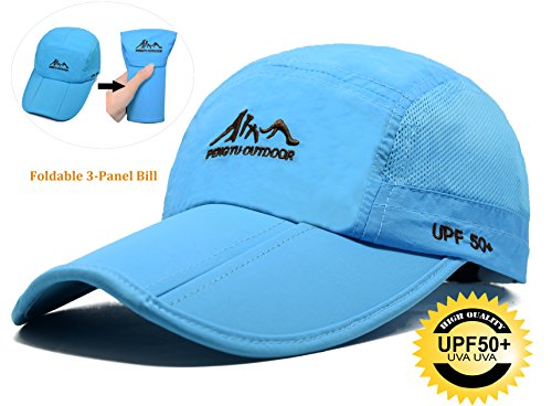Baseball Cap Quick Dry Travel Hats UPF50, Cooling Portable Sun Hats for Sports Golf Running Fishing Outdoor Research with Foldable Long Large Bill, M/L/XL, - Running Custom Visors
