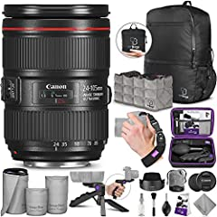 DIGITAL GOJA IS A CANON AUTHORIZED DEALER. 1 YEAR LIMITED WARRANTY. Bundle includes: - Canon EF 24-105mm f/4L IS II USM Lens - AirBag Packable Bag and Camera Insert - Altura Photo Mini Tripod with Pistol Grip - Altura Photo Rapid Fire ...
