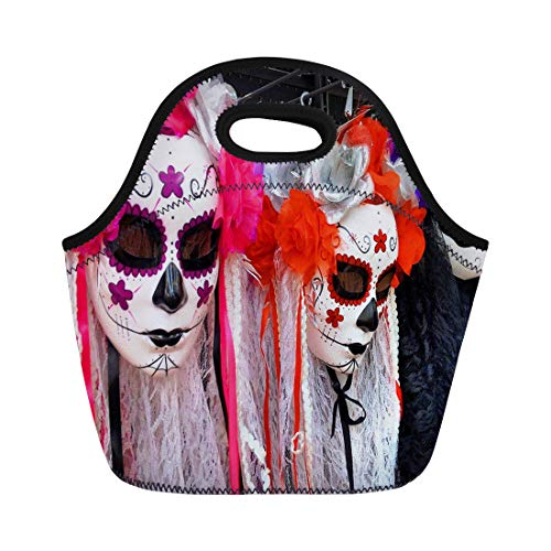 Semtomn Neoprene Lunch Tote Bag Traditional Mexican Colorful Skull Costumes La Muerte Mask - Reusable Cooler Bags Insulated Thermal Picnic Handbag for Travel,School,Outdoors,Work -