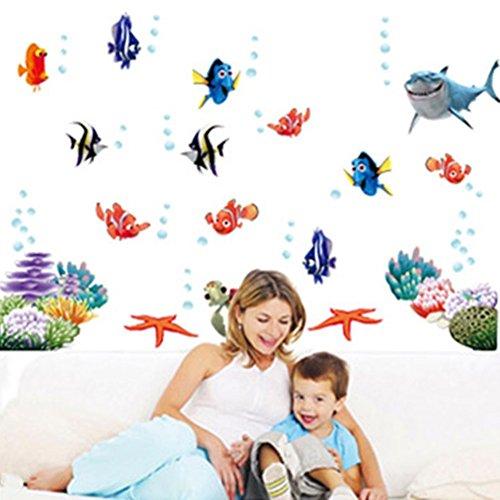 COUTUDI Peel&Stick Underwater World Wall Sticker Kids Bedroom Playroom Decal Tropical Adhesive Sea Life Mural Nursery Kindergarten Ocean Themed Art (1) ()