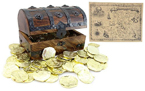 WellPackBox Wood Toy Large Treasure Chest Box Plastic Doubloons Coins Plus Treasure Map