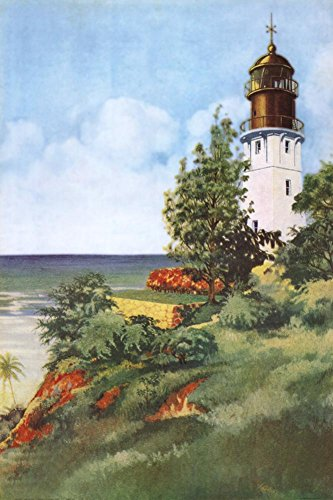 Lighthouse At Diamond Head Art Poster Print