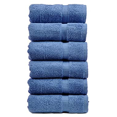 Luxury Hotel & Spa Towel 100% Genuine Turkish Cotton (Hand Towel  - Set of 6, Wedgewood)