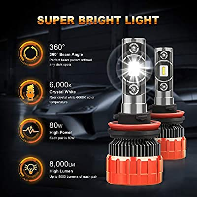 MOSTPLUS 8000 Lumens 80W/Pair-9005+H11 All-in-One LED-TX1860 Chip Really Focused Headlight Bulbs Super Mini Conversion Kit Xenon White: Automotive