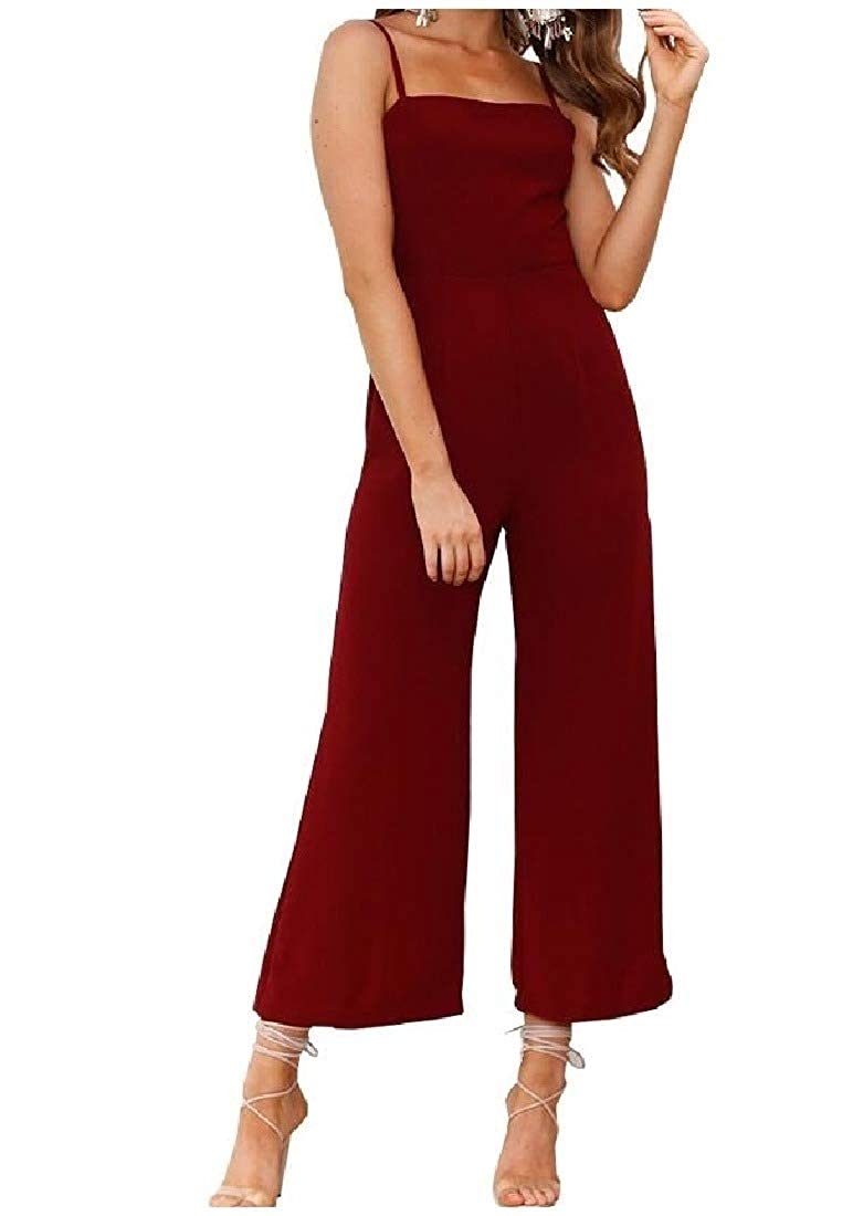 Comaba Women Sling Back Hollowed Wide Legs Pure Summer Jumpsuits Rompers