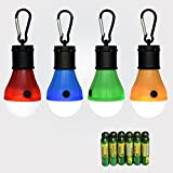 Camping Light 4 Pack Portable LED Tent Lantern Bulb 3 Modes Battery Powered Lamp with 12 AAA Batteries for Hiking Fishing Emergency and Outdoor Adventures