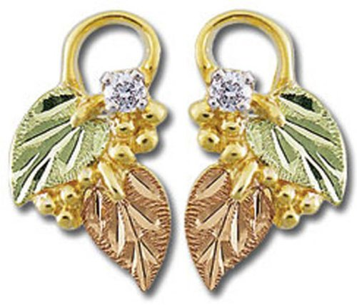 - Landstroms 10k Black Hills Gold Diamond Earrings with Leaves - G LER835PX