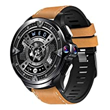 Allcall GT 4G Smart Watch Phone Big Battery Face Unlock Life Waterproof GPS Dual Cameras 1.6''Round Display Long Battery Big Memory 3GB RAM 32GB ROM 24h Heart Rate Monitor(Ceramic Bezel, Brown Strap)