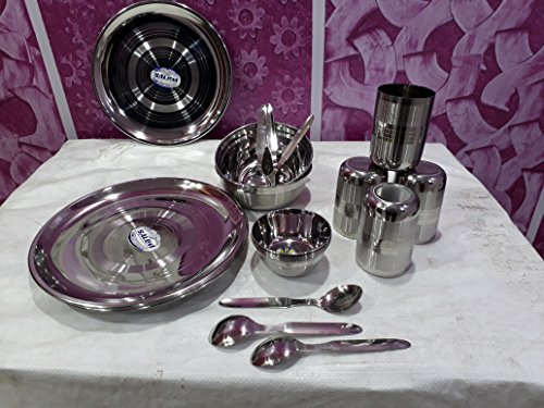 Set Stainless Steel Dinner - US Shopee - Stainless Steel 20 Pcs Dinnerware Set, dinner set Of Unbreakable Stainless Steel Plates , Unbreakable Stainless Steel Bowls , Unbreakbale Stainless Steel Glasses